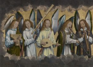 Gelangweilt musizierende Engel