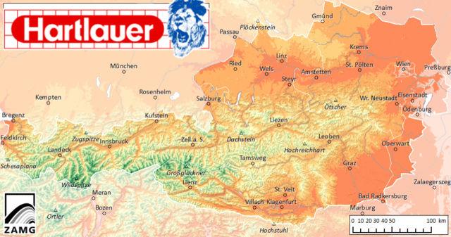 Temperaturkarte Österreich