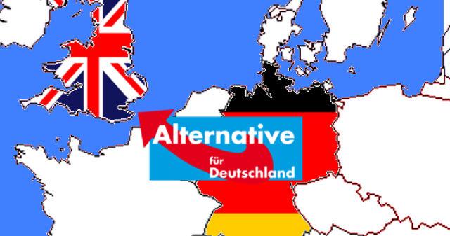 Karte von Europa mit gespiegeltem Logo der AfD