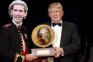Sebastian Kurz und Donald Trump mit Riesen-Mozartkugel