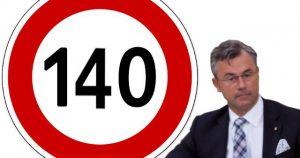 Tempolimit 140 Verkehrsschild mit Minister Norbert Hofer