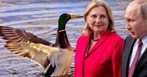 Karin Kneissl und Wladimir Putin bei ihrem Gespräch über Enten