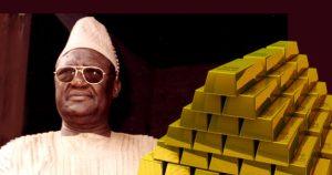Afrikanischer Sultan mit Goldbarren