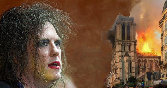 Robert Smith neben brennender Notre Dame