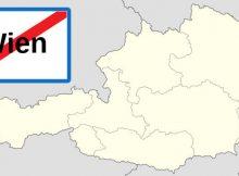 Österreich-Karte und Ortsende-Tafel von Wien