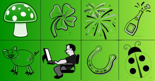 Bei den Glückssymbolen wurde der Rauchfangkehrer durch den Programmierer ersetzt